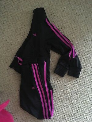 Girls 7-8 years adidas tracksuit black and pink