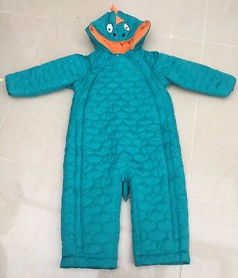 Baby Boy M&S Winter Green Dinosaur Quilted Snowsuit Coat Age 12-18 Months BNWT