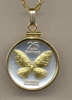 Philippines 25 Sentimos Butterfly Coin Real Gold on Silver Pendant & Necklace