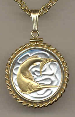Singapore 20 Cent Swordfish Coin Gold on Silver Pendant w/ Necklace Gift Item