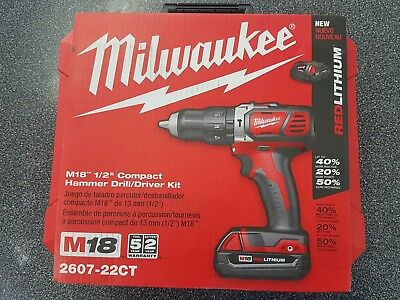 Milwaukee Compact Hammer Drill/Driver Kit 2607-22CT NEW