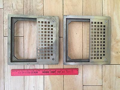 Vintage 2 Brass Grate Floor Wall Vent Design Plate Partial Frame W-2520-8X8