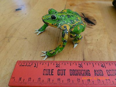 Vintage hand made folk art frog painted tree frog unique figurine