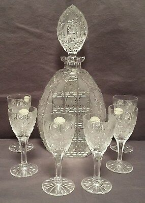 Hand cut lead crystal decanter set made in Bohemia
