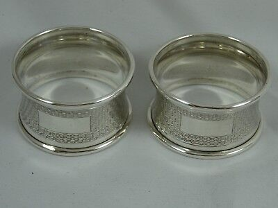 PAIR of ART DECO style solid silver NAPKIN RING , 1959, 24gm