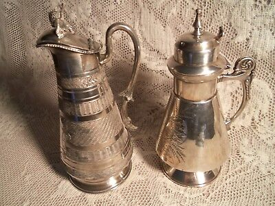 Antique 2 Silver Plate Victorian Syrup Pitchers-Pours