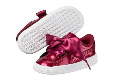 Puma Basket Heart Glam Patent 363895-02 Tibetan Red Leather Shoes Toddler