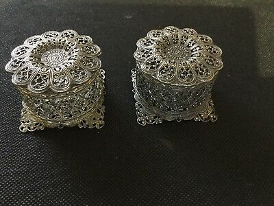 Silver Filigree Pot Pourri Pots