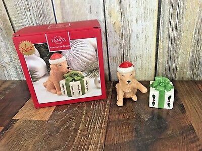 NEW Lenox Holiday Christmas DOG PRESENT Lab Salt and Pepper Shakers Macys