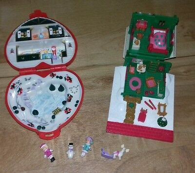 Vintage Polly Pocket Christmas Winter Compact 1989 Chalet With Figures Vgc