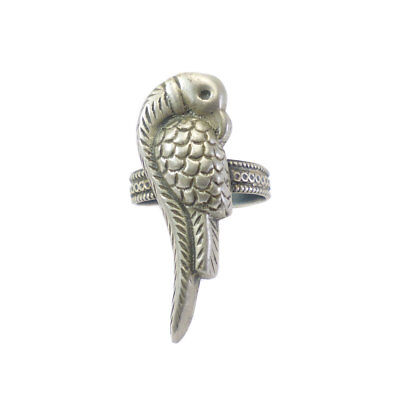 Antique Vintage Deco Old Silver Parrot Ring Size 10 Adjustable Tribal Jewelry