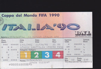 1990 ENGLAND V EGYPT 21-06-1990 WORLD CUP Group Match Ticket Cagliari