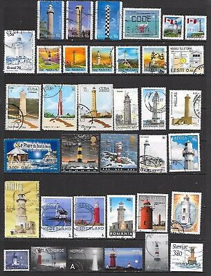 66 Stamps featuring lighthouses that are used, CTO or UMM (3 scans)