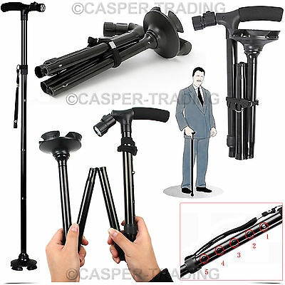 Hiking Walking Stick Adjustable Height With Light Folding & Free Standing Base