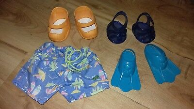 Genuine Cabbage Patch Kids Cpk Shoes + Shorts Flippers Sandals Vgc