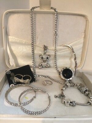 Bundle Of Silver Costume Jewellery ( Includes Necklace Earings Diamanté Ring )