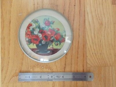 Antique Flu Cover Poppy Flowers Excellent Flue Cover ~Estate Find FREE SHIPPING