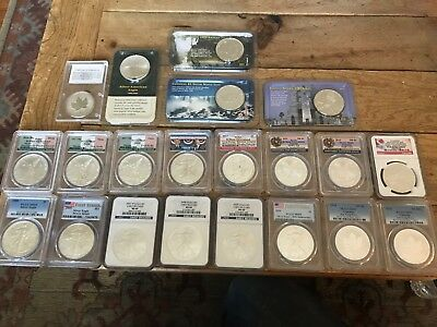 Lot of 21-1OZ Silver Coins! MS69, BU, Eagles, Libertads, Maples and more! Rare!!