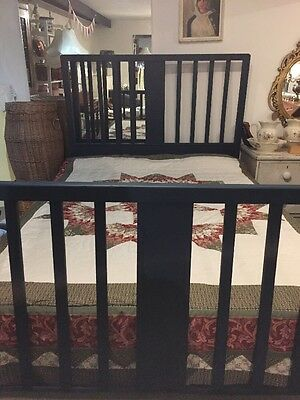 """Antique Edwardian Shabby Chic Painted Wooden Double Bed Frame Blue/Green 4' 6"""""""