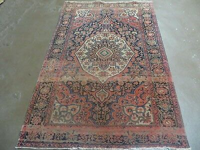 3' X 5' Antique 1880s Hand Made Authentic Fine Persian Farahan Sarouk Wool Rug
