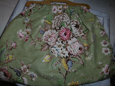 Vintage 1960s Sanderson fabric sewing knitting bag with wooden handles
