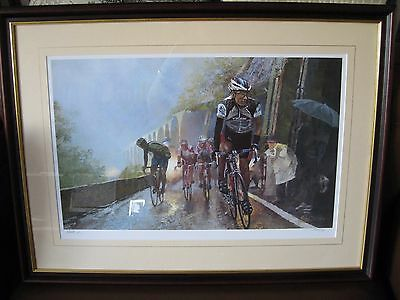 Framed & Limited Edition Signed Pat Cleary Print 'Tour De France-Col D'Aubisque'