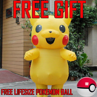 ++US SHIP++ Halloween Party Pokemon Go New Pikachu Cosplay Adult Mascot Costume♡