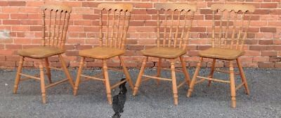Antique Set of 4  SHAKER CHAIRS Plank Bottoms