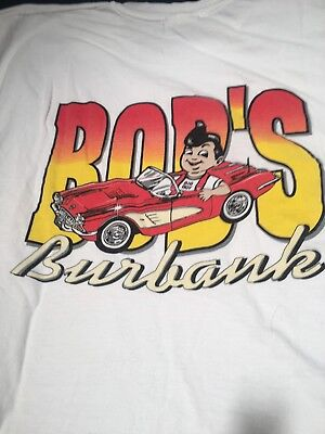 RARE Vintage 90s BOB'S BIG BOY Burbank Calif Pin Up Girl White T-Shirt Size L