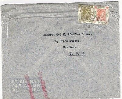 1946 Victoria Hong Kong China KGVI Not Airmail to New York,  Acme Chemical