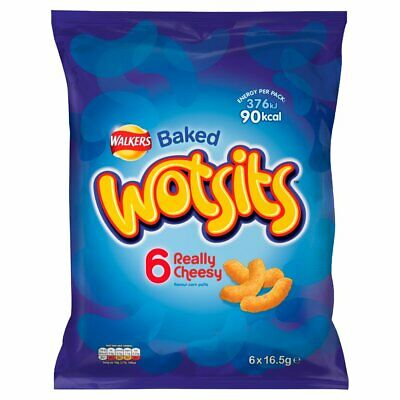 Walkers Wotsits Really Cheesy Snacks 6x16.5g Cheesy Flavour Corn Puffs