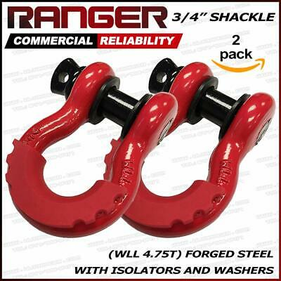 """Ranger 3/4"""" Trade Shackle with Isolator with Washers, 4.75T WLL (Pack of 2)"""