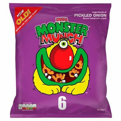 Mega Monster Munch Pickled Onion Snacks 6 X 22 G Pickled Onion Corn Snack