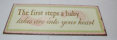 """Nursery Wall hanging metal sign """"The first steps a baby takes"""" flaw"""