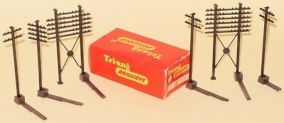 Triang Railways OO R478 Set Of 6 Telegraph Poles & Track Clips NEAR MINT BOXED