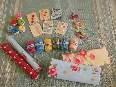miniature crochet, wool, button, fabric dolls house, haberdashery shop, sewing