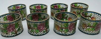Antique chinese Plique a jour Set Of 8 Napkin Ring Holders Cloisonne On Glass