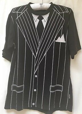Ladies black and white mens T Shirt And Hat Costume S