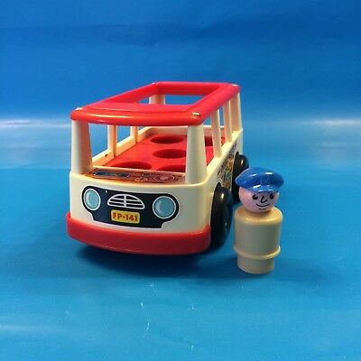 Vintage 1968 Fisher Price Little People Mini Bus & Driver with Cap