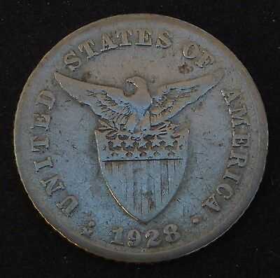 1928-M Mule 20 Centavos Philippines Silver Coin