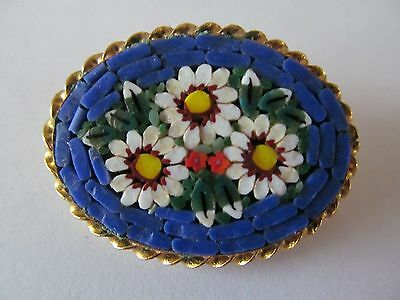 Italian Micro Mosaic Cobalt Blue & Multi-Tones Of Floral Designed Brooch Pin
