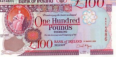 "BANK OF IRELAND £100  1/3/05  PREFIX NUMBER A414686 ""McGOWAN""  UNC"