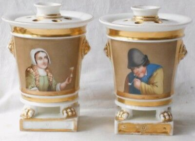 A Pair Of C19Th Hand Painted Paris Vases On Claw Feet With Picture Panels