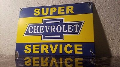 Vintage Chevrolet Porcelain Gas Auto Super Service Station Pump Plate Sign