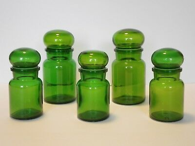 Vintage Belgium Glass Green Bubble Lid Apothecary Jars Lot of 5