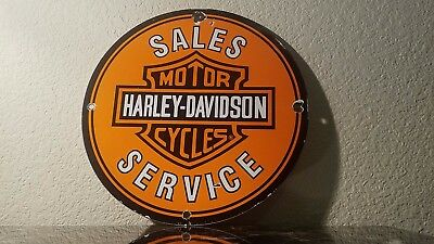 Vintage Harley Davidson Motorcycle Porcelain Gas Service Station Pump Plate Sign