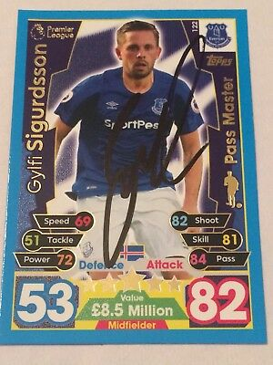 Signed Gylfi Sigurdsson Everton Match Attax Card 2017/2018 Exact Photo Proof