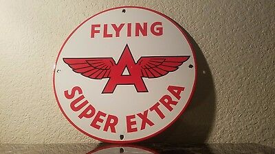 Vintage Flying A Gasoline Porcelain Gas Oil Service Station Pump Plate Sign
