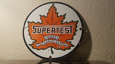 Vintage Supertest Gasoline Porcelain Gas Oil Service Station Pump Plate Sign