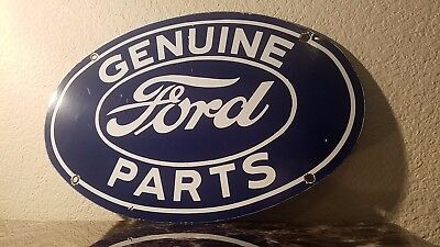 Vintage Ford Automobile Porcelain Auto Gas Oil Service Station Pump Plate Sign